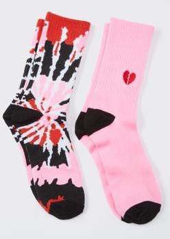 2-pack pink tie dye broken heart embroidered crew socks - Main Image