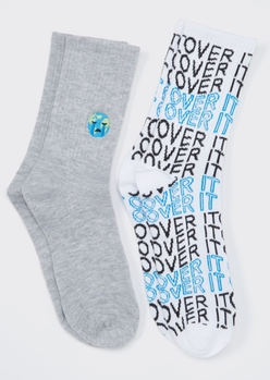 2-pack gray over it embroidered crew socks - Main Image