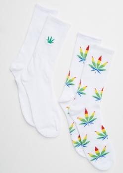 2-pack white rainbow striped weed print crew socks - Main Image
