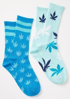 2-pack blue striped weed print crew socks set - Main Image