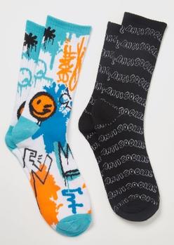 2-pack antisocial graffiti crew socks - Main Image