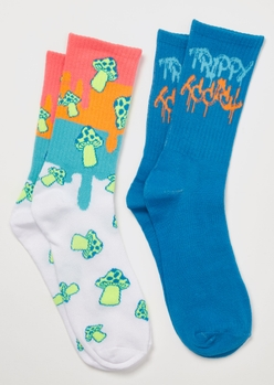 2-pack trippy drip mushroom crew socks - Main Image