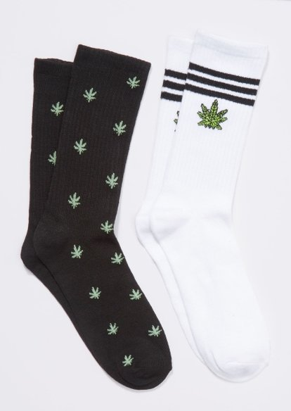 2-pack weed leaf stripe crew sock set - Main Image
