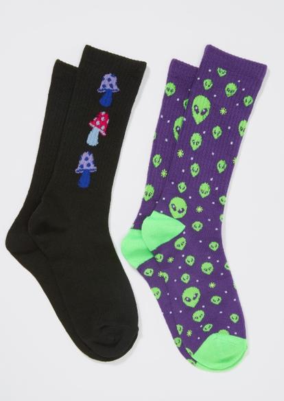 2-pack alien mushroom crew sock set - Main Image