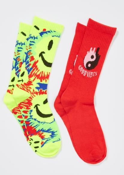 2-pack smiley face tie dye yin yang crew sock set - Main Image