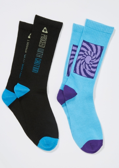 2-pack blue proceed with caution crew sock set - Main Image