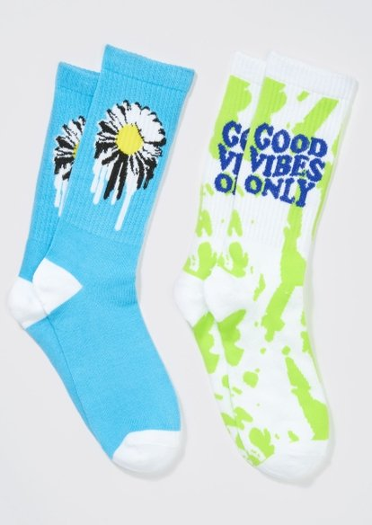 2-pack blue good vibes only daisy crew sock set - Main Image
