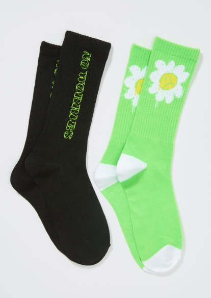 2-pack green no worries daisy crew sock set - Main Image