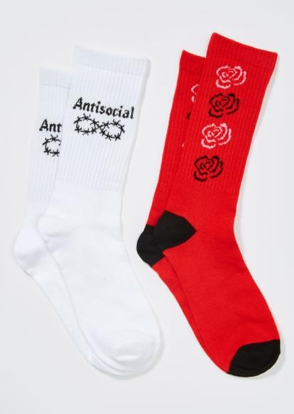 2-pack red rose antisocial crew sock set - Main Image