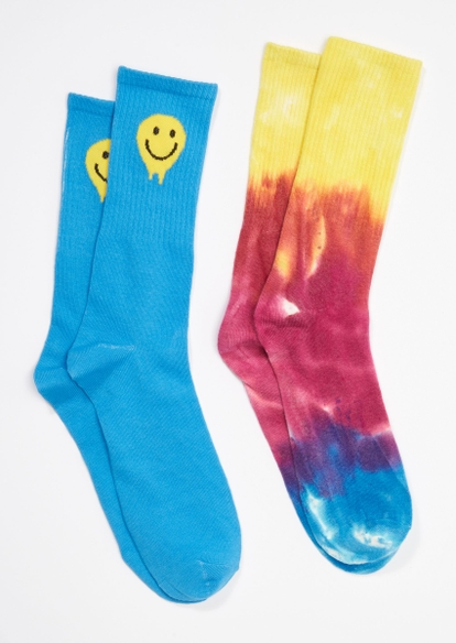 2-pack rainbow tie dye smiley face crew sock set - Main Image