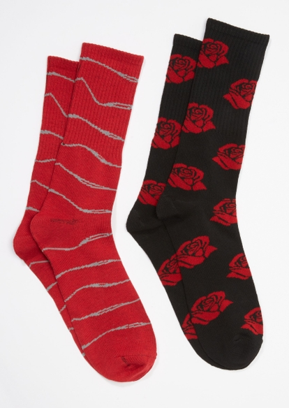 2-pack red wire rose print crew sock set - Main Image