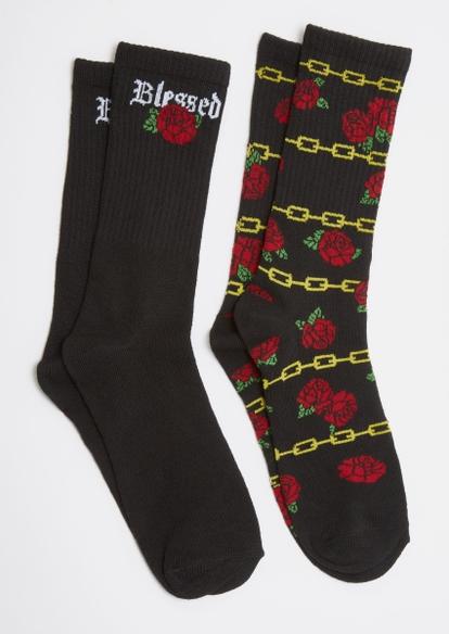 2-pack gold rose chain crew socks - Main Image