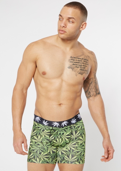 green weed leaf print boxer briefs - Main Image