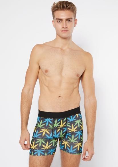 black weed leaf print boxer briefs - Main Image