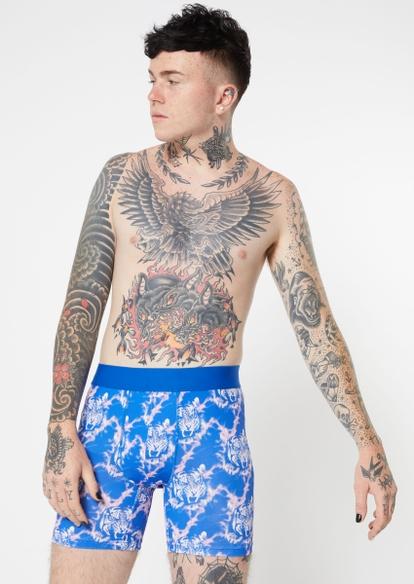 blue face your fears long length boxer briefs - Main Image