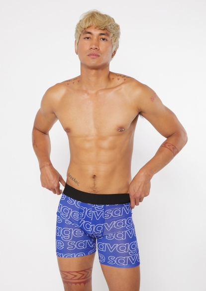 blue savage print active trunks - Main Image