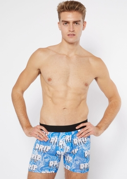 blue oil swirl drip boxer briefs - Main Image