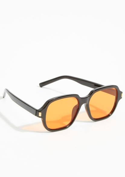 orange oval lens black plastic frame sunglasses - Main Image