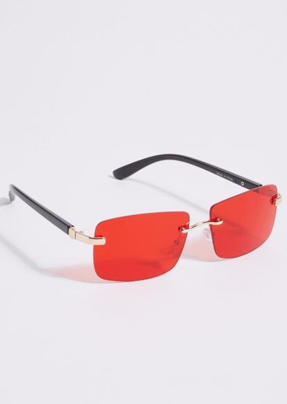 red micro square lens sunglasses - Main Image