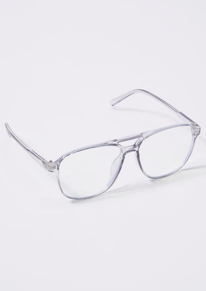 clear frame brow bar blue light glasses - Main Image