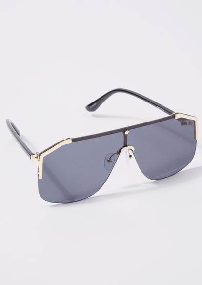 black shield lens gold frame sunglasses - Main Image