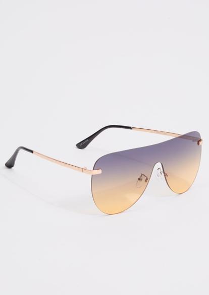 gold ombre shield sunglasses - Main Image