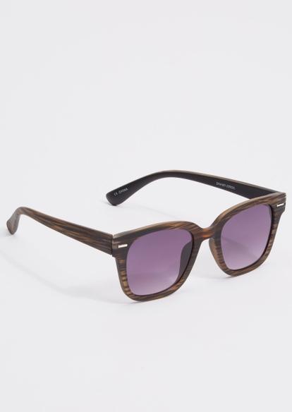 brown wood grain frame sunglasses - Main Image