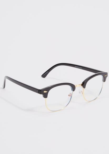 black frame gold hardware blue light glasses - Main Image