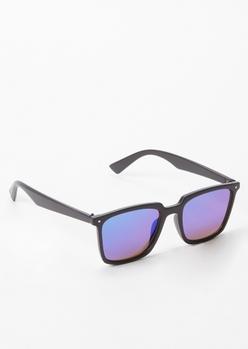 matte blue reflective sunglasses - Main Image