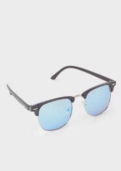 blue faux wood square sunglasses - Main Image