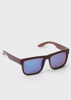 wood grain square sunglasses - Main Image