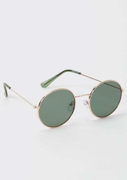 sage green round sunglasses - Main Image