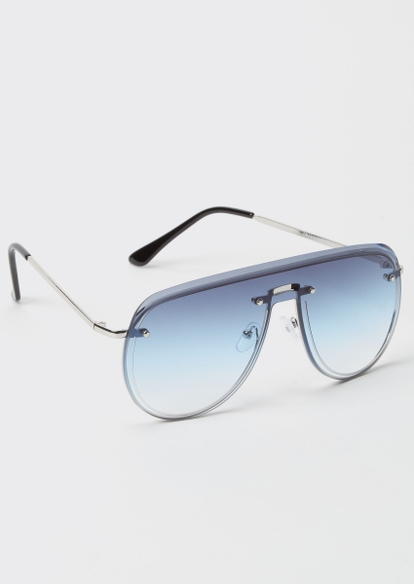 silver blue navigator sunglasses - Main Image