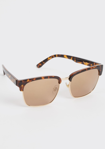 tortoiseshell mirrored square sunglasses - Main Image
