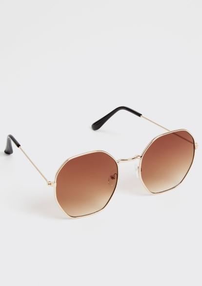 gold octagon sunglasses - Main Image