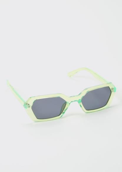 neon green hexagon sunglasses - Main Image