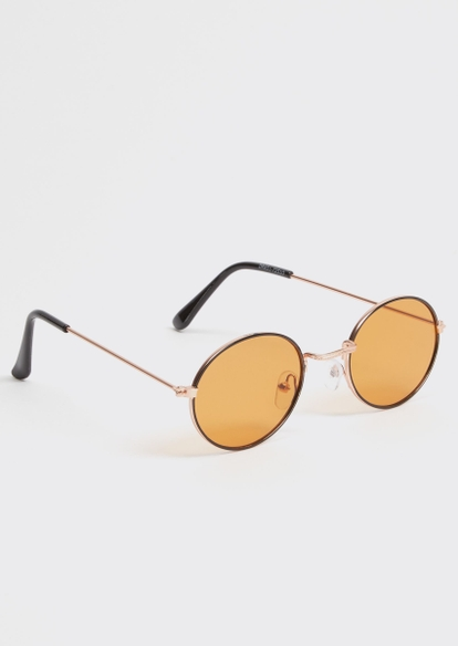 orange micro round sunglasses - Main Image
