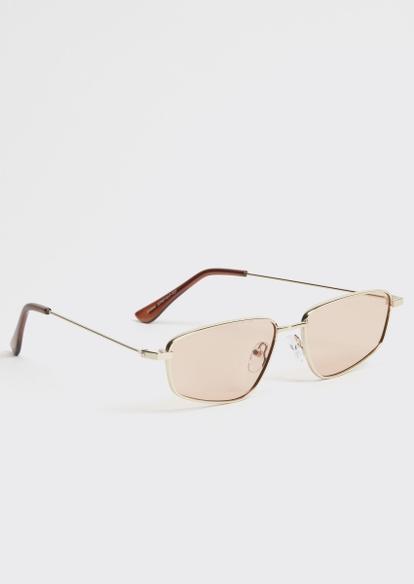 gold micro square sunglasses - Main Image