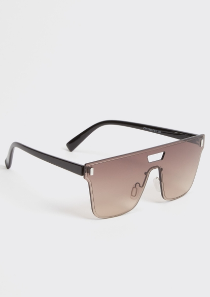 brown frameless flat top shield sunglasses - Main Image
