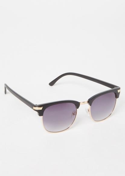 black matte square sunglasses - Main Image