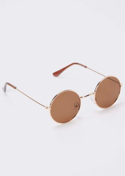 brown micro round sunglasses - Main Image