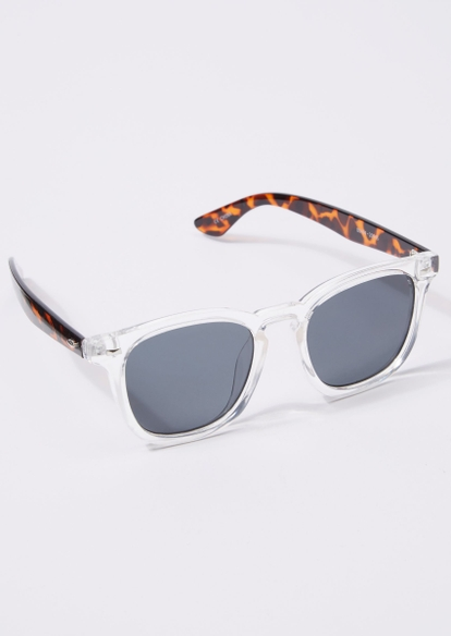 clear frame tortoise print arm sunglasses - Main Image