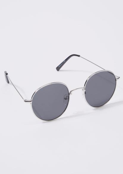 silver smokey lens round sunglasses - Main Image