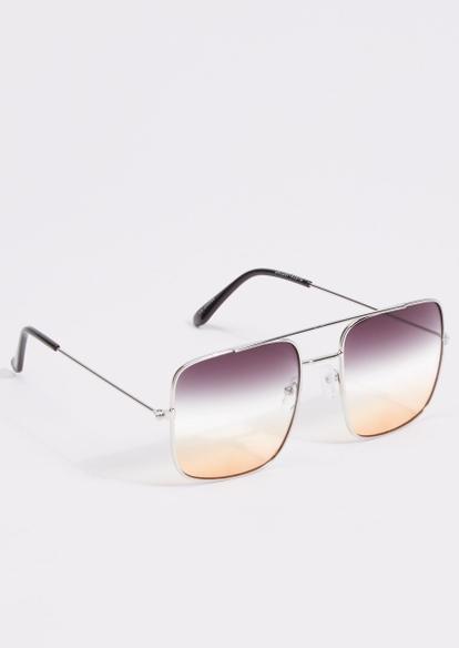 silver ombre lens shield sunglasses - Main Image
