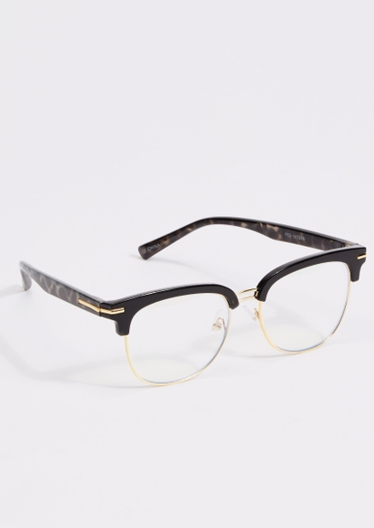 black tortoise print frame blue light glasses - Main Image