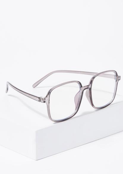 dusty lavender square frame blue light glasses - Main Image