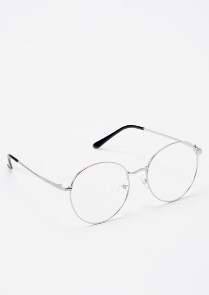 silver round lense blue light glasses - Main Image