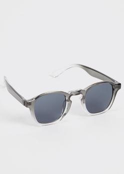black transparent square frame sunglasses - Main Image