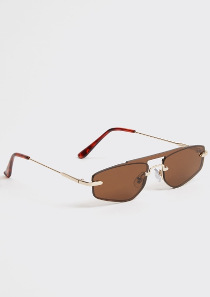 brown micro navigator sunglasses - Main Image