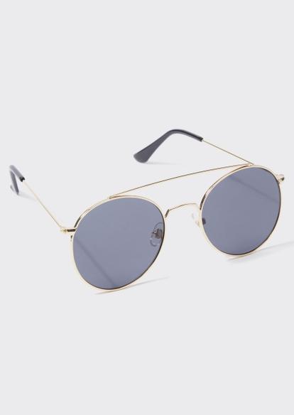 gold round brow bar black lens sunglasses - Main Image